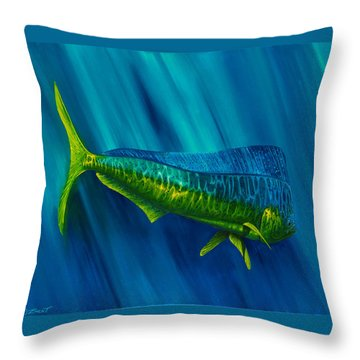 Throw Pillow featuring the painting Bull Dolphin by Steve Ozment