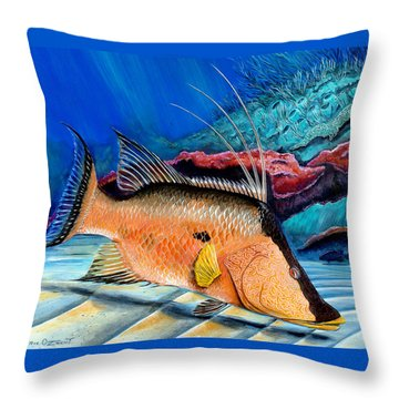 Throw Pillow featuring the painting Bull Hogfish by Steve Ozment