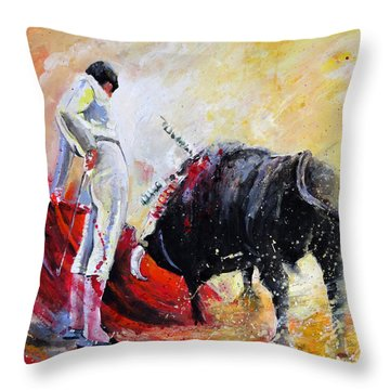 Bull In Yellow Light Throw Pillow