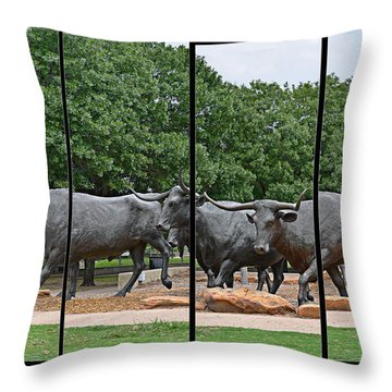 Bull Market Quadriptych Throw Pillow by Christine Till