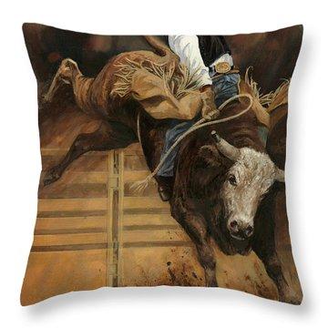 Bull Riding 1 Throw Pillow by Don  Langeneckert