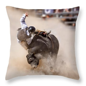 Bull Riding Throw Pillow