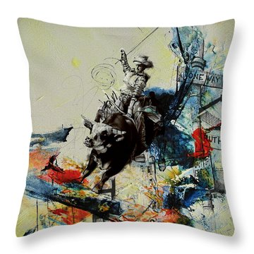 Bull Rodeo 02 Throw Pillow