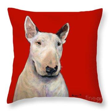 Bull Terrier On Red Throw Pillow