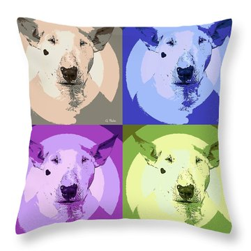 Bull Terrier Pop Art Throw Pillow by George Pedro