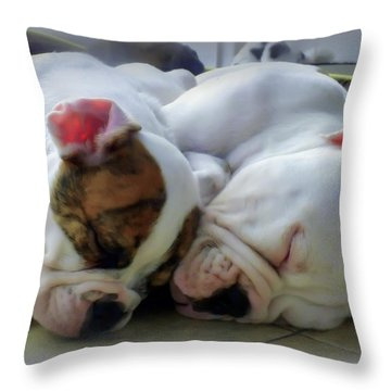 Bulldog Bliss Throw Pillow by Karen Wiles