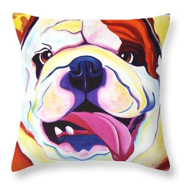 Bulldog - Grin Throw Pillow by Alicia VanNoy Call