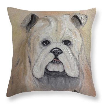 Throw Pillow featuring the painting Bulldog by Karen Zuk Rosenblatt
