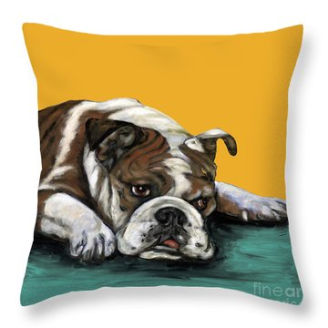 Bulldog On Yellow Throw Pillow