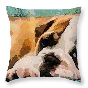 Bulldog Puppy Throw Pillow by Dragica  Micki Fortuna