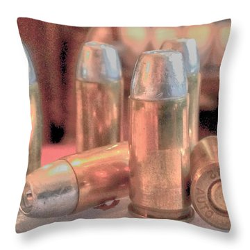 Bullet Art Hollow Point Soft Gold Throw Pillow by Lesa Fine