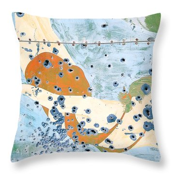 Bullet Ridden Tin Sign Chicos Hot Springs Throw Pillow by Edward Fielding