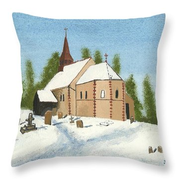 Throw Pillow featuring the painting Bulley Church by John Williams