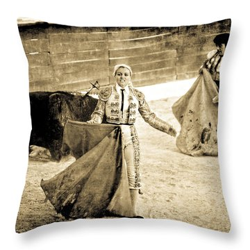 Bullfighting Blond Throw Pillow