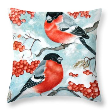 Bullfinch Couple Throw Pillow