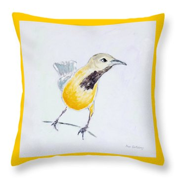 Throw Pillow featuring the painting Bullock's Oriole No 1 by Ben Gertsberg