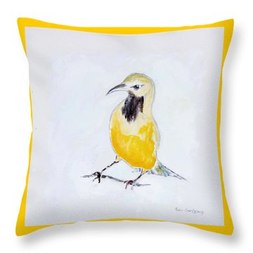 Throw Pillow featuring the painting Bullock's Oriole No 2 by Ben Gertsberg