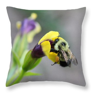 Throw Pillow featuring the photograph Bumble Bee Making A Wish by Penny Meyers