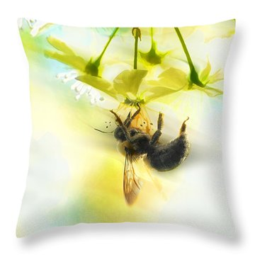 Bumble Going In For The Nectar Throw Pillow by Dan Friend