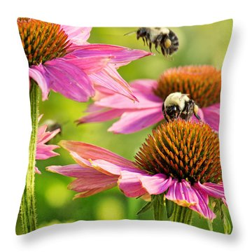 Bumbling Bees Throw Pillow by Bill Pevlor
