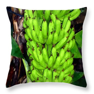 Bunch Of Bananas Throw Pillow by Lanjee Chee