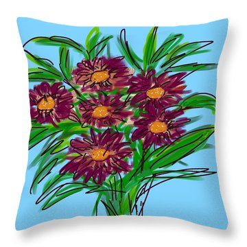 Throw Pillow featuring the digital art Bunch Of Daisies by Christine Fournier