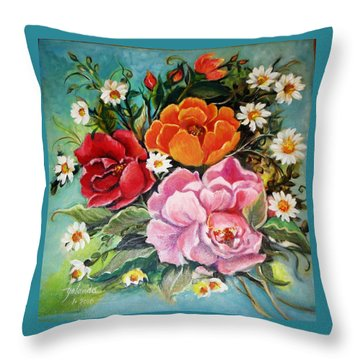 Throw Pillow featuring the painting Bunch Of Flowers by Yolanda Rodriguez