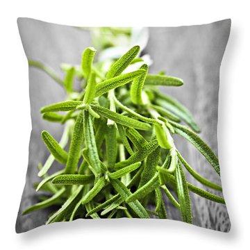 Bunch Of Fresh Rosemary Throw Pillow by Elena Elisseeva