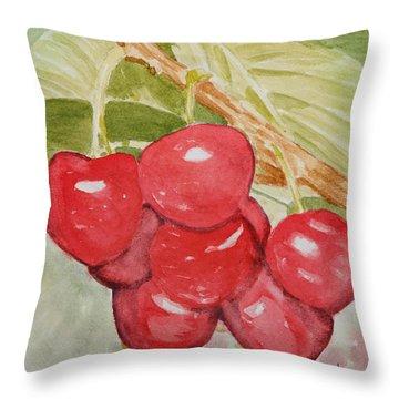 Bunch Of Red Cherries Throw Pillow by Elvira Ingram