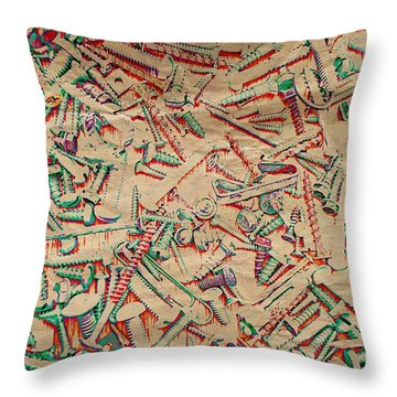 Bunch Of Screws 5 - Digital Effect  Throw Pillow by Debbie Portwood