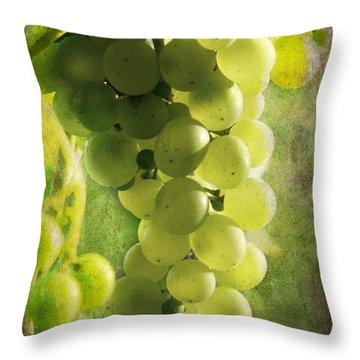 Bunch Of Yellow Grapes Throw Pillow by Barbara Orenya