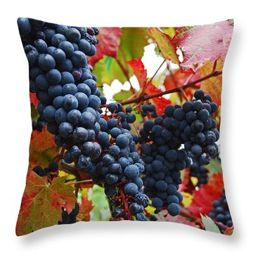Bunches Of Grapes Throw Pillow by Jani Freimann
