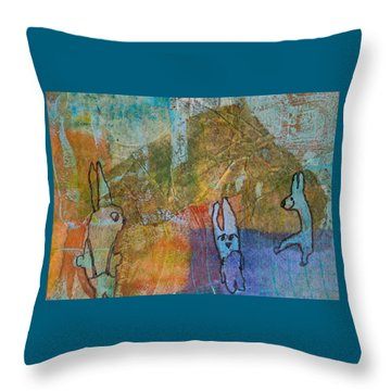 Throw Pillow featuring the mixed media Bunny Ballet by Catherine Redmayne