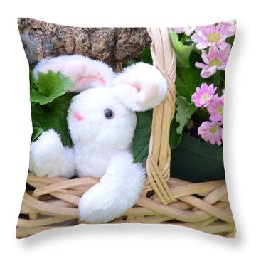 Bunny In A Basket Throw Pillow by Kathleen Struckle