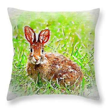 Bunny - Watercolor Art Throw Pillow by Kerri Farley