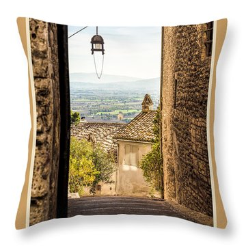 Buone Feste With Valley Outside Of Assisi Throw Pillow