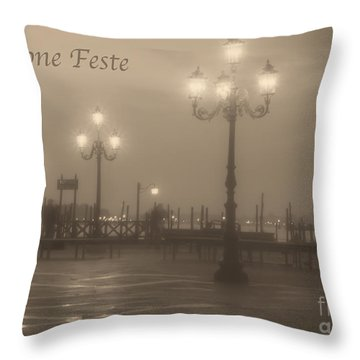 Buone Feste With Venice Lights Throw Pillow