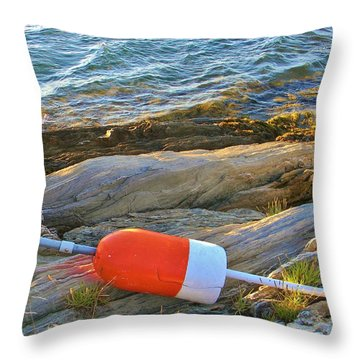 Buoy On The Rocks Throw Pillow by Jean Goodwin Brooks
