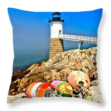 Buoys At The Headlight Throw Pillow by Adam Jewell
