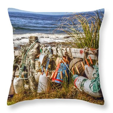 Buoys Throw Pillow by Geraldine Alexander