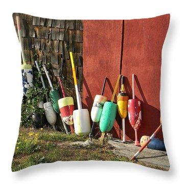 Buoys Throw Pillow by Jean Goodwin Brooks
