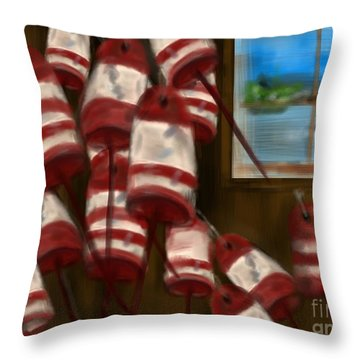Buoys With A View      Throw Pillow by Christine Fournier