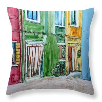 Throw Pillow featuring the painting Burano by Anna Ruzsan