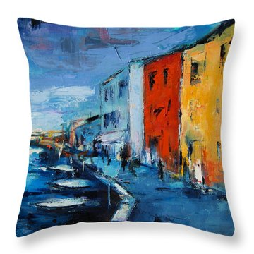 Burano Canal - Venice Throw Pillow