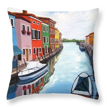 Throw Pillow featuring the painting Burano by Cheryl Del Toro