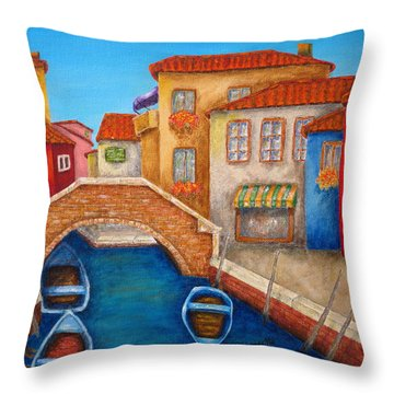 Burano Throw Pillow by Pamela Allegretto