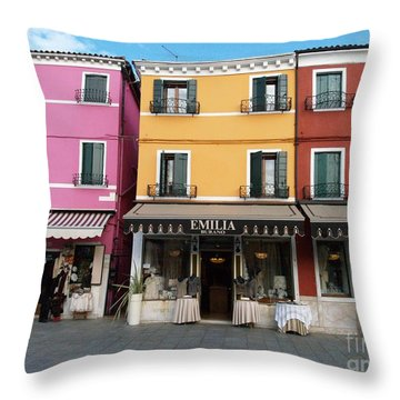 Throw Pillow featuring the painting Burano by Robin Maria Pedrero