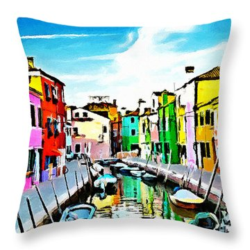 Throw Pillow featuring the painting Burano - Venice - Italy by Ze  Di