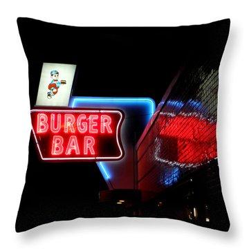 Burger Bar Neon Diner Sign At Night Throw Pillow