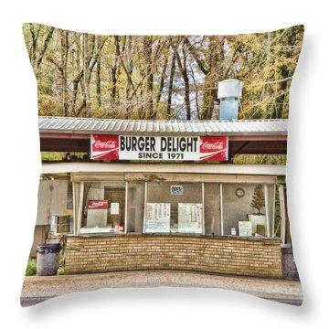 Burger Delight Throw Pillow by Scott Pellegrin